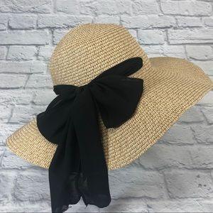 LOFT tan sun hat with black ribbon bow*